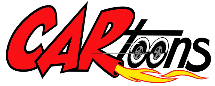 cartoons logo in red and black with flames coming our the letter r